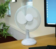 "12"" Desk Fan Oscillating Silent Electric 3 Speed Office Home Cooling Portable"