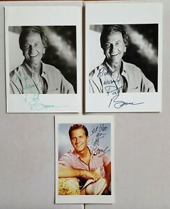3 hand signed Pat Boone photos autographed 2-5 x 7 B&W 1-4 x 6 color authentic