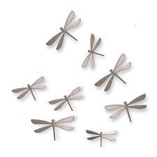 Umbra Set/8 Plastic Brushed Nickel Dragonflies Dragonfly Wall Decor Wallflutter