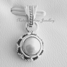 Pendant 925 Sterling Silver Natural Freshwater Pearl (a) 9mm x 19mm