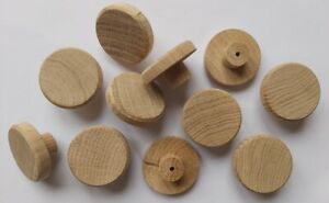 40mm OAK Knobs Solid Wood Unfinished Wooden handle drawer cupboard furniture NEW