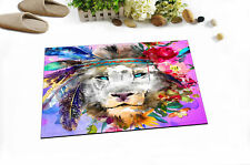Home Area Rug Lion with Feathers Flowers Floor Carpet Non-skid Bath Kitchen Mat