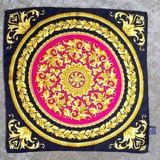 "GIANNI VERSACE black & fuchsia silk neck scarf bag twilly Baroque print 17"" inch"