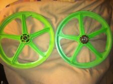 "BMX Green Skyway Mag Wheel Set 20"" Freewheel GT Hutch Redline Old school"