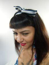 Bandeau foulard cheveux rigide cordon maléable tissu bleu blanc à larges rayures