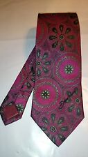 Daniel Hechter Men's Vintage Tie in Magenta with a Black and Green Pattern