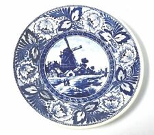 """Delft 9"""" Blue & White Windmill Wall Plate Made For Royal Sphinx Holland By Boch"""