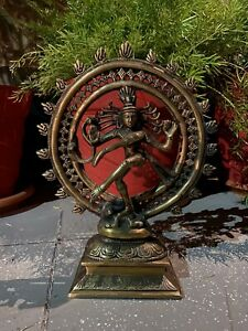 "Ancient Old Brass Hand Crafted Dancing God Natraj 11.5"" Big Status Sculpture"