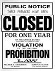 "REPLICA ""CLOSED"" SIGN FOR VIOLATING PROHIBITION (REPRINT) - 11X14 PHOTO (LG218)"