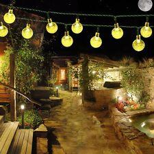 EasyDecor Solar String Lights 30 LED Ball 21ft Warm Cool White Multi 8Mode Water