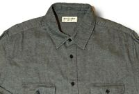 $750 Saint Laurent Gray Cotton Flannel Shirt Size XL Made in Japan