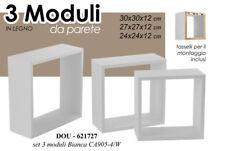 3 MODULI MENSOLA 30/27/24 CM CUBO MURO PARETE LEGNO MDF BIANCHE DOU 621727