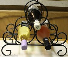 New Black Wine Bottle Holder Rack A & L Iron Works - Holds 3 Bottles