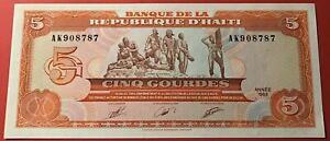 Haiti - 5 Gourdes 1989 P#255a Uncirculated