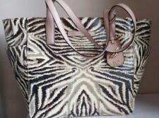 DIANE VON FURSTENBERG Zebra Cream Brown Handbag Tote with Pockets  NWT $195