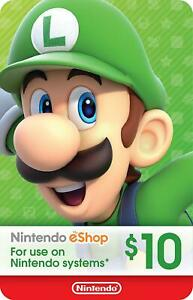 Nintendo $10 eShop Card USD 10 Dollar - Nintendo Switch/3DS/WiiU - Only For USA