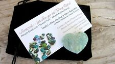 Amazonite Healing Crystal Heart 35mm with Black Velour Drawstring Pouch Card