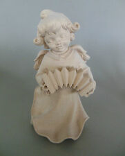 Engel mit Akkordeon ca. 20 cm hoch, Holz geschnitzt natur Sonderpreis Maserung