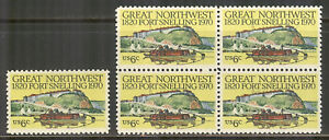 US #1409, 1970 6c Fort Snelling, Minnesota - 150th Anniversary, S/B4 Unused NH
