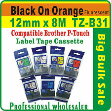 12mmx8m Brother Black on Fluorescent Orange Compatible TZ-B31 P-Touch Label Tape