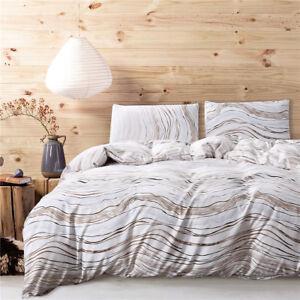 3PCS Stripe Bedding Set Duvet Cover Quilt Pillowcases Twin/Queen/King Size New