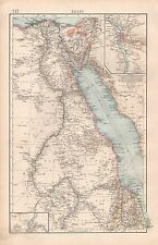 "1900 ""TIMES""  LARGE ANTIQUE MAP - EGYPT RED SEA, ENVIRONS OF CAIRO, KHARTOUM"
