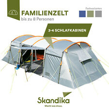 Skandika Montana 8 Camping Familienzelt Tunnel 8 Personnes 4 Cabines Gris Neuf
