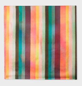 PAUL SMITH Men's Artist Stripe Large Silk Pocket Square ITALY NWT ($75 USD)