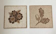 H&R Johnson Vintage Tile Brown Speckled Acorn Flowers 6 Inch Lot of 2 England