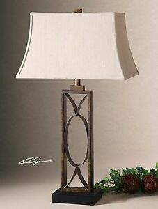"CHIC DECOR XXL 32"" RUSTIC MOTTLED DARK BRONZE TABLE BUFFET LAMP MANICOPA"