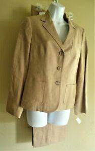 NWT Talbots 2 Piece Pant Suit Beige Irish Linen 8/10 Pockets Notch Lapel