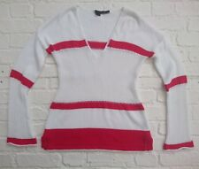 360 Pull loose en maille coton blanc & rouge pull taille S small UK 8 10