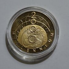 TURKS & CAICOS 2000 MILLENNIUM 25 CROWN GOLD & SILVER PROOF in Capsule