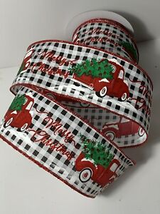 """10 Yds Of 2 1/2"""" Wired Black & White Checked Christmas Ribbon Red Trucks Trees"""