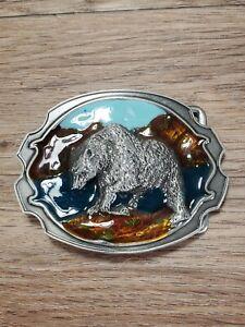 Vintage Bear 3D Belt Buckle Enameled Siskiyou Buckle Co Belt 1984 Reproduction