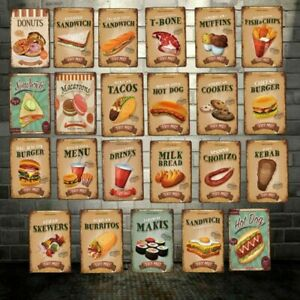 Fast Food Donuts Bread Metal Tin Sign Vintage Wall Decor For Home Bar Restaurant