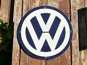 Vintage Volkswagen VW Porcelain Sign Plate Metal Garage Service Shop Gas Oil Bar