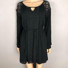 Francesca s Dina Be Women s Black Bell Sleeve Dress Size Small Boho Lace  Accents d2549756b