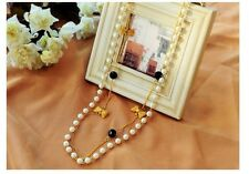 Fashion Cute Gold Bowknot with Pearl Double Layer Sweater Long Necklace
