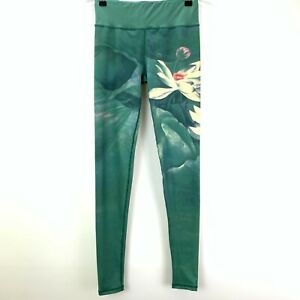 Womens Size XS Green with White Flowers Leggings Stretch Fabric 25in Waist