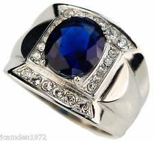 Blue sapphire simulated 6 carat mens ring 316 Stainless Steel size 10