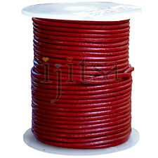 2mm round Dark Red genuine leather cord 5 yards section (spool is not included)