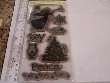 CLING RUBBER STAMPS MERRY CHRISTMAS GREETING TREE ANGEL HARP PEACE SNOWFLAKE