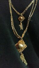 Vintage Circa 1970s Or 80s Fabulous Double Tassel Long Gold Tone Chain Necklace