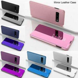 For Samsung Galaxy S21 S20 Plus Note 20 Ultra A72 A52 Mirror Leather Flip Case