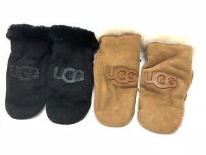 Ugg Australia Sheepskin Heritage Logo Mitten Black or Chestnut Shearling 1089934