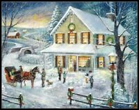 Christmas Visit -Chart Counted Cross Stitch Pattern Needlework Xstitch craft DIY
