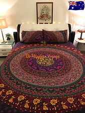 AU CLEARANCE SALE: Pink Chakra KING Mandala Quilt Doona Cover Pillow Case Set