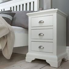 Victorian Painted White Bedroom Furniture Bedside Table with 3 Drawers