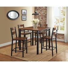 5 Piece Counter Height Dining Set Kitchen Table and 4 Chairs Vintage Oak Finish
